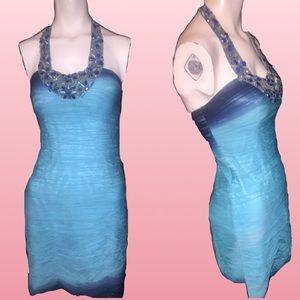 Jovani embellished halter mini cocktail dress